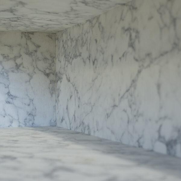 marmurowy blat kompaktowy Forner zastosowany na powierzchnię pionową i poziomą